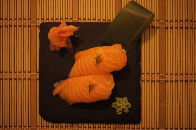 salmone, wasabi